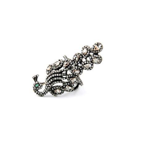 Cute peacock artificial gemstone women's ring NHQD152636's discount tags