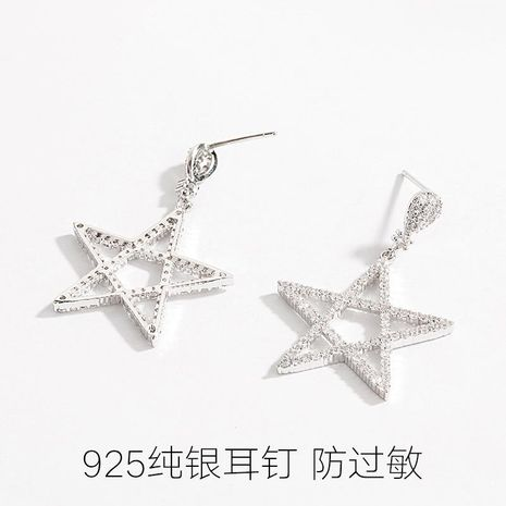 Simple sterling silver cold wind star earrings NHLL152656's discount tags