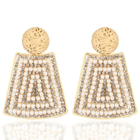 Vintage trapezoidal imitation pearl alloy earrings NHCT152668's discount tags