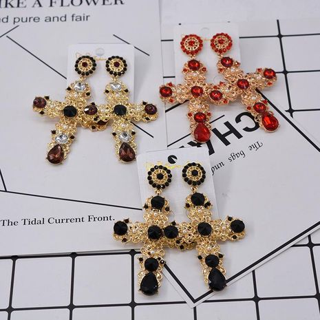 Cross long baroque synthetic gemstone alloy earrings NHNT152669's discount tags