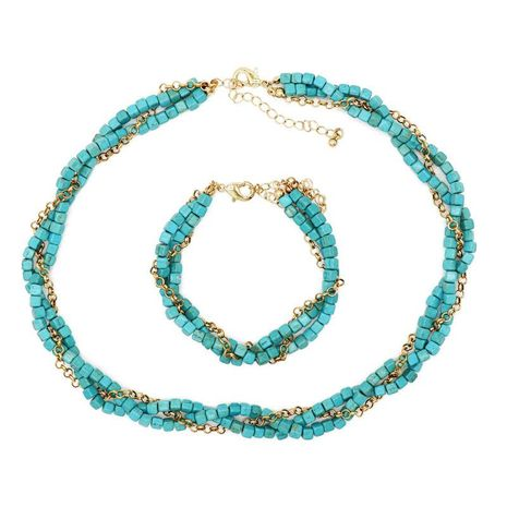 Turquoise Necklace Braided Bracelet Set NHOM152670's discount tags