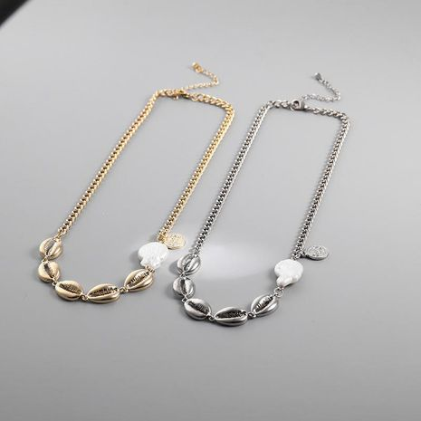 Fashion simple shell coin alloy necklace NHLL152681's discount tags