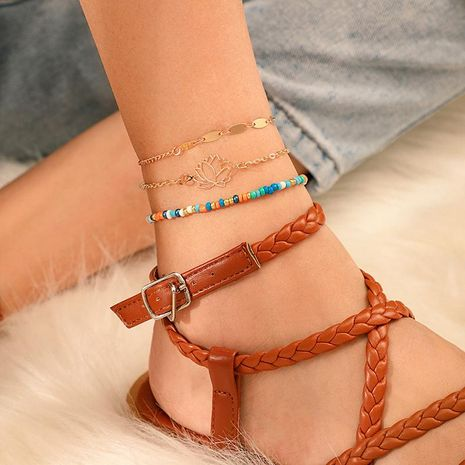 Fashion color rice beads hollow multi-layered anklet bracelet NHGY152698's discount tags