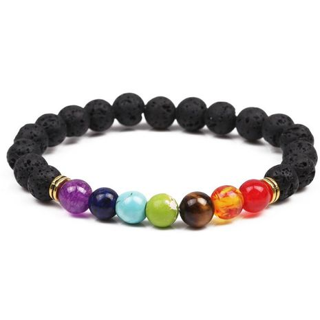 Natural Lava Volcanic Stone Chakra Beaded Bracelet NHYL152705's discount tags