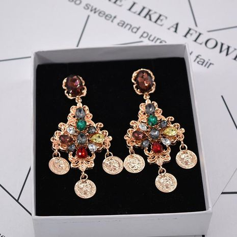 Fashion long openwork flower rhinestones exaggerated tassel earrings NHNT152707's discount tags