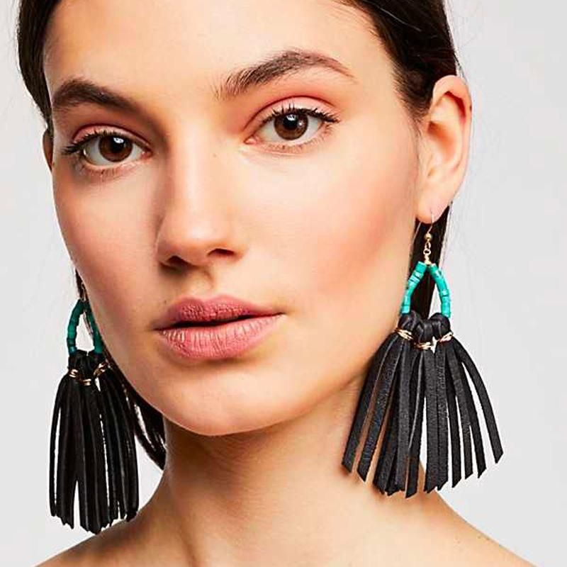 Fashion Natural Crushed Stone Beads Tassel Drop Earrings NHLU152710