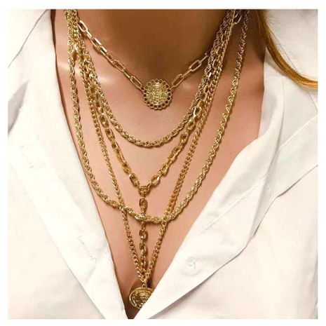 Retro Simple Multi-Element Item Sweater Chain Necklace NHCT152714's discount tags