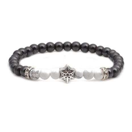 Bracelet en alliage de perles de pierre noire de pierre noire blanche de mode NHYL152716's discount tags