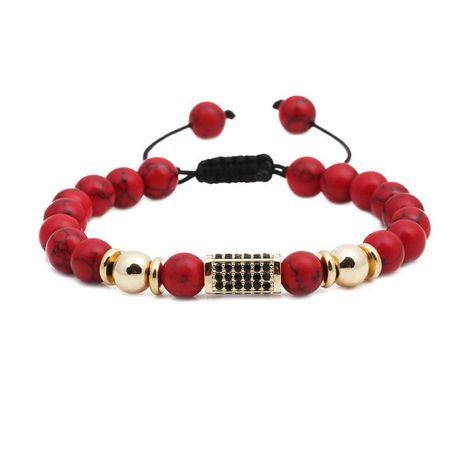 Bracelet perlé tête de lion en pin rouge zircon micro-incrusté NHYL152723's discount tags