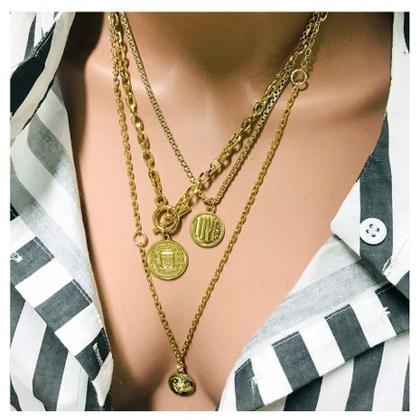 Fashion embossed LOVE multi-layer alloy necklace NHCT152725's discount tags