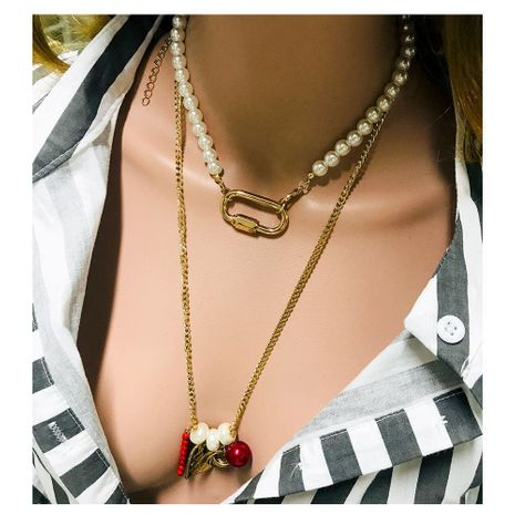 Fashion lock love pearl necklace NHCT152726's discount tags