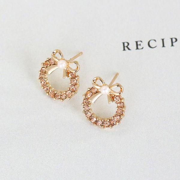 Korean pearl bow metal stud earrings NHDP152728