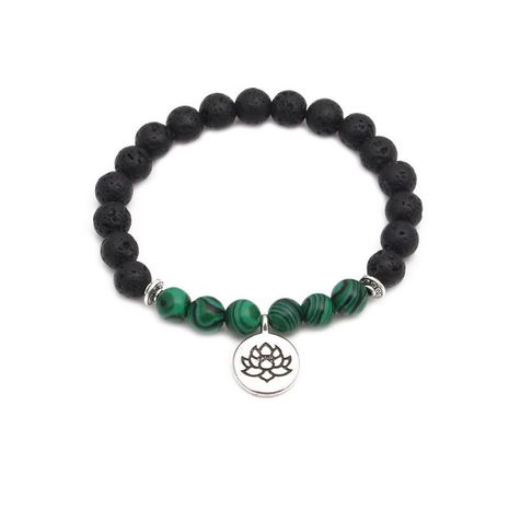 Fashion volcanic stone Buddhist lotus bracelet NHYL152737's discount tags