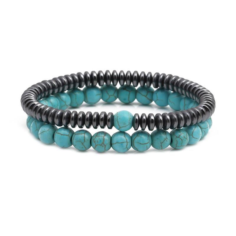 Natural black gallstone blue pine beaded bracelet NHYL152739