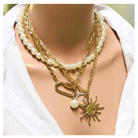 Fashion imitation pearl with diamond G-lock necklace NHCT152752's discount tags