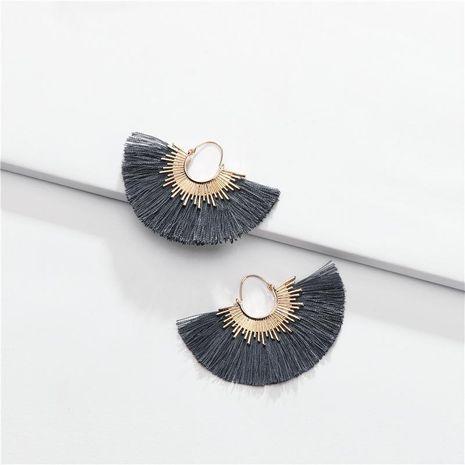 Fashion cotton thread fringed fan-shaped multi-color alloy earrings NHLU152755's discount tags