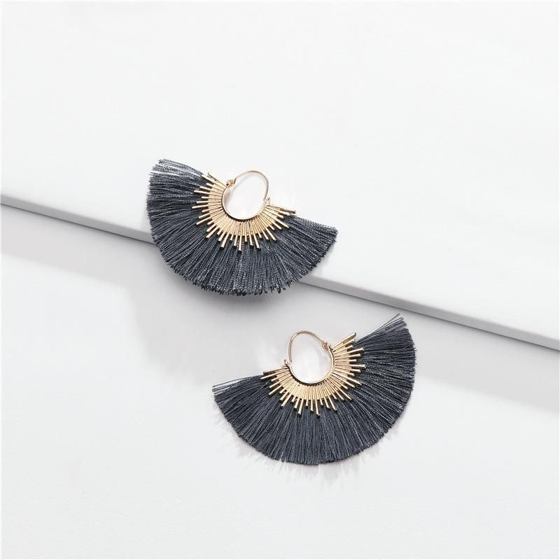 Fashion cotton thread fringed fanshaped multicolor alloy earrings NHLU152755