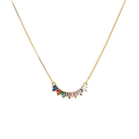 Fashion Colorful Zircon Copper Plated Diamond Necklace NHYL152759's discount tags