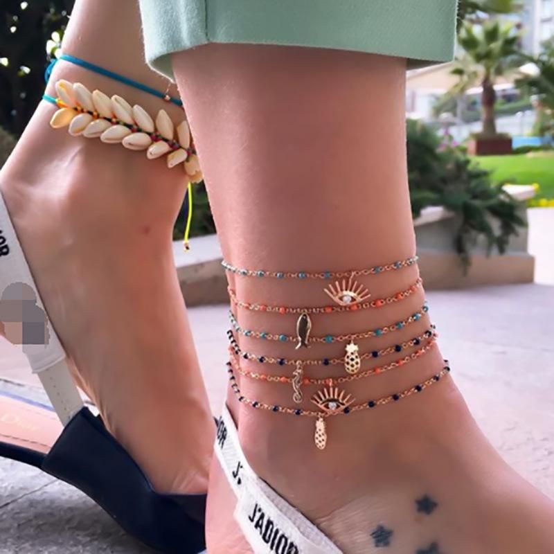 Cute fish seahorse eyes pineapple anklet bracelet NHGY152760