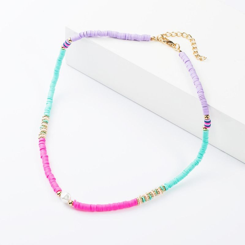 Fashion colorful soft ceramic small round pearl necklace NHJE152778