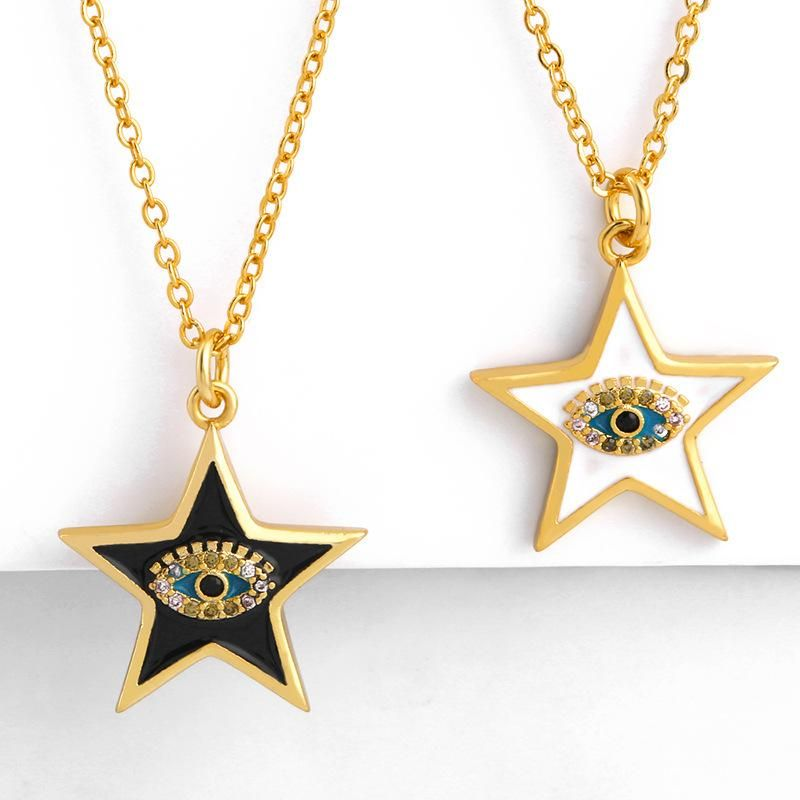 Fashion five-pointed star copper inlaid zircon drop necklace NHAS152779