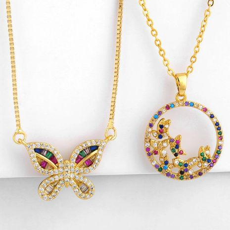 Cute copper inlaid zircon color butterfly necklace NHAS152780's discount tags