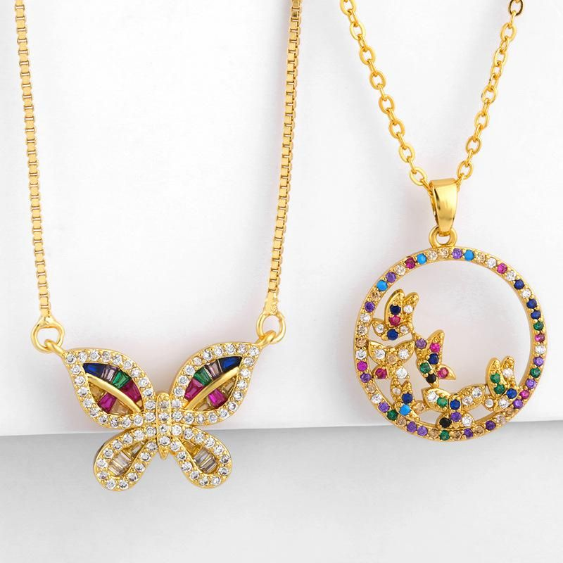 Cute copper inlaid zircon color butterfly necklace NHAS152780