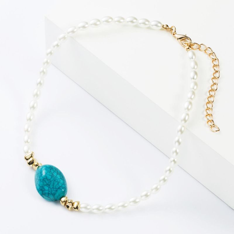 Fashion pearl turquoise necklace NHJE152776
