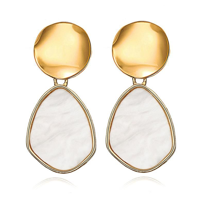Simple alloy sequins acrylic geometric earrings NHPF152782