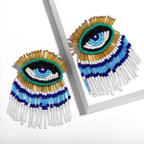 Hand-woven beads devil's eye earrings NHAS152783's discount tags