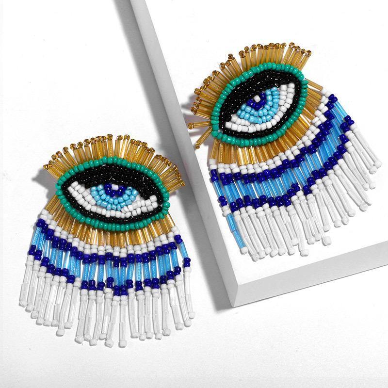 Hand-woven beads devil's eye earrings NHAS152783