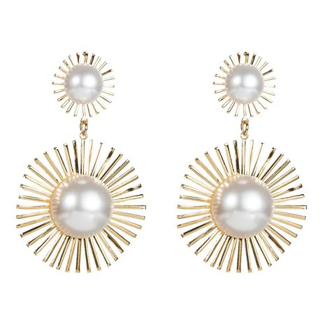 Fashion Alloy Pearl Sun Flower Earrings NHJE152786's discount tags