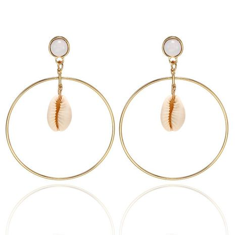 Simple large circle alloy shell earrings NHPF152788's discount tags