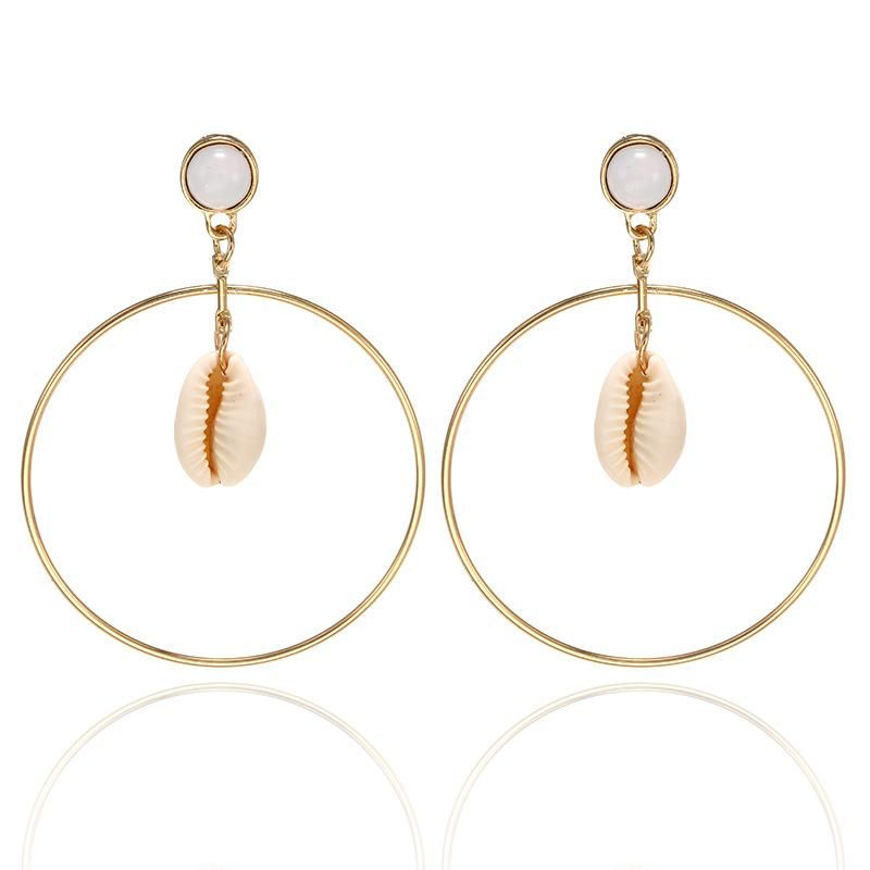 Simple large circle alloy shell earrings NHPF152788