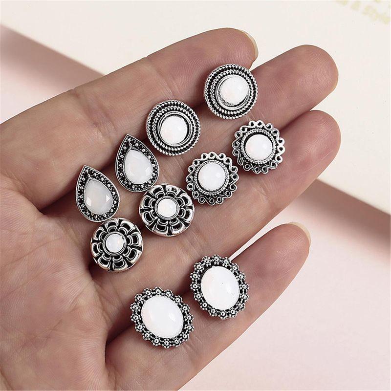 Fashion vintage alloy pearl flower stud earrings set NHPF152794