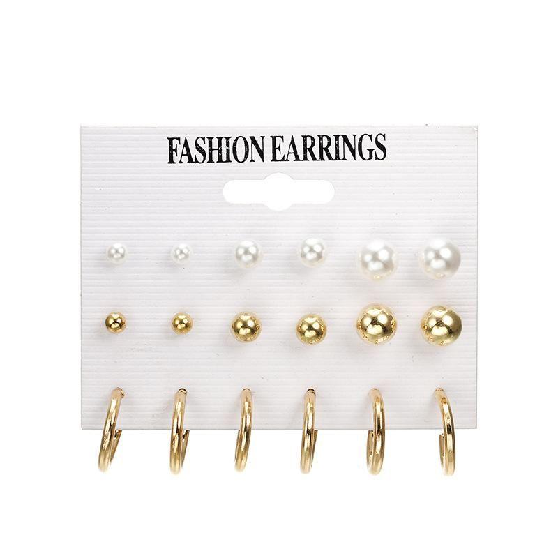 Conjuntos de aretes de aro de aleación de aretes de perlas de moda NHPF152795