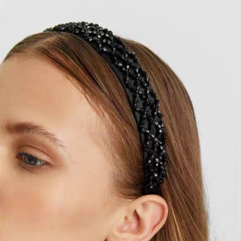 Cloth crystal beaded mesh braided headband NHJE152796