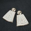 Vintage trapezoidal imitation pearl alloy earrings NHCT152668
