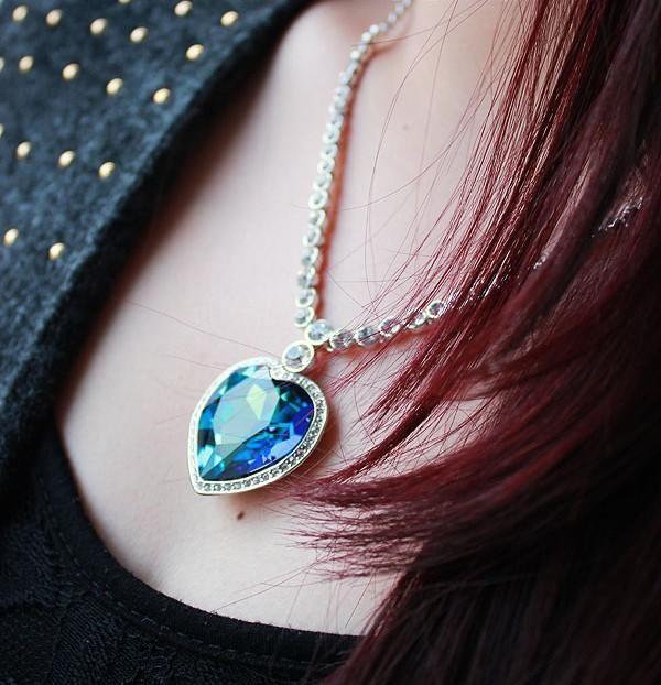 Stylish Blue Classic Ocean Heart Necklace NHLJ152819