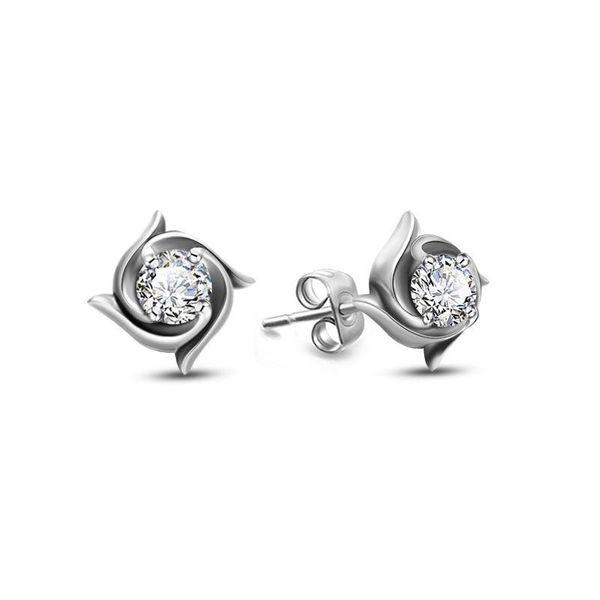 Stylish titanium steel retro whirlwind zircon stud earrings NHOK152820
