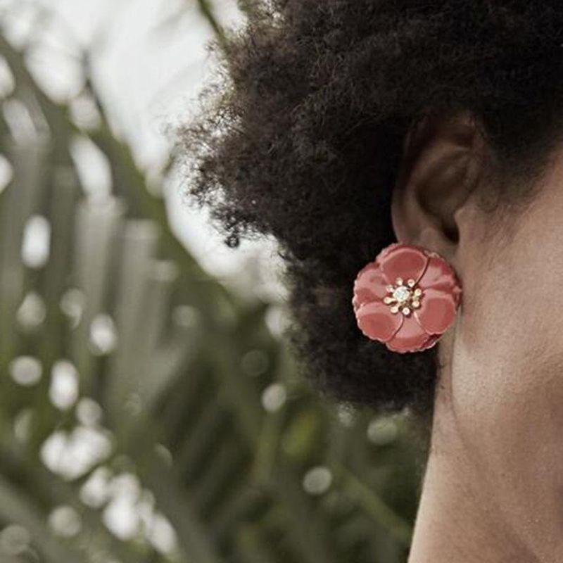 Womens Floral Plating Alloy  Imitation Diamond Earrings NHMD152829