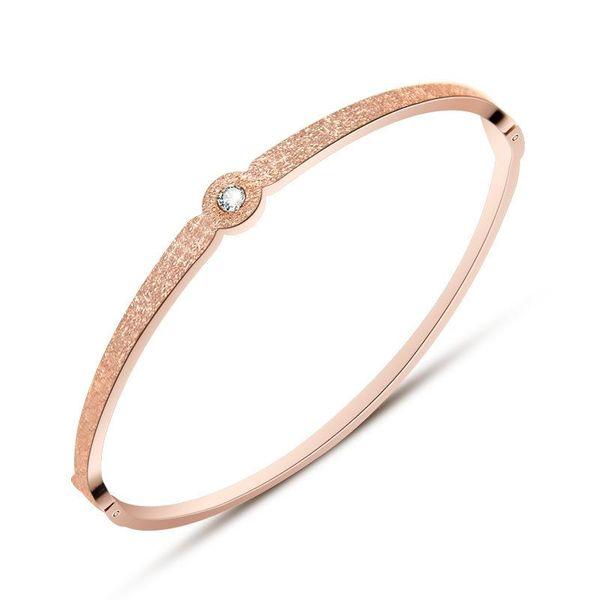 Fashion Round Diamond Scrub Rose Gold Bracelet NHOK152858