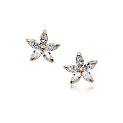 Korean version of exquisite pentagonal petal zircon alloy earrings NHLJ152867