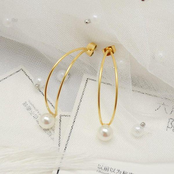 Fashion Double Line Moon Pearl Earrings NHOK152876