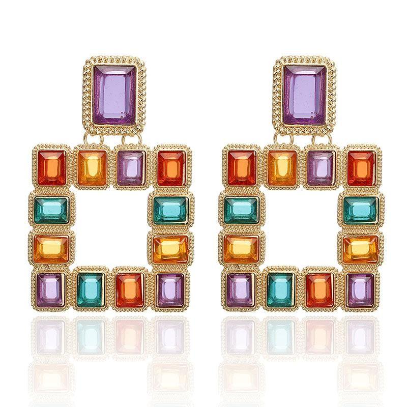 Fashion color matching acrylic alloy earrings NHPF152881