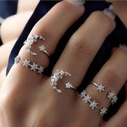 Vintage Star Moon Crystal Anillo de piedras preciosas artificiales NHPJ152897