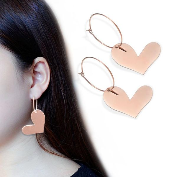 Fashion 歪 歪 heart titanium steel earrings NHOK152907