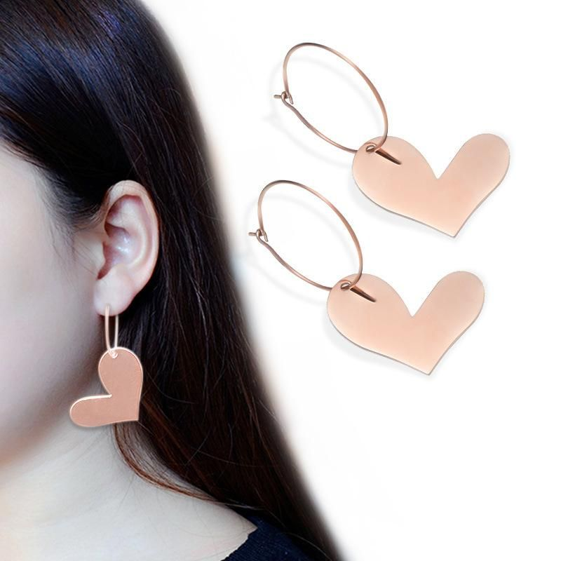 Fashion 歪 歪 heart titanium steel earrings NHOK152907