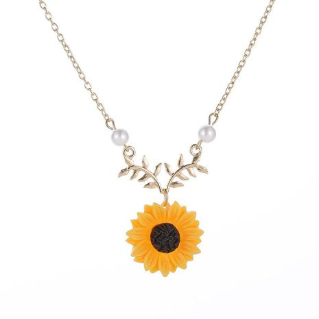 Fashion Sunflower Two Pearls Sun Flower Alloy Necklace NHCU152908's discount tags