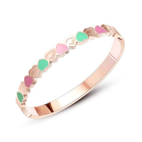 Womens Heart-Shaped Titanium Steel Bracelets & Bangles NHOK152915
